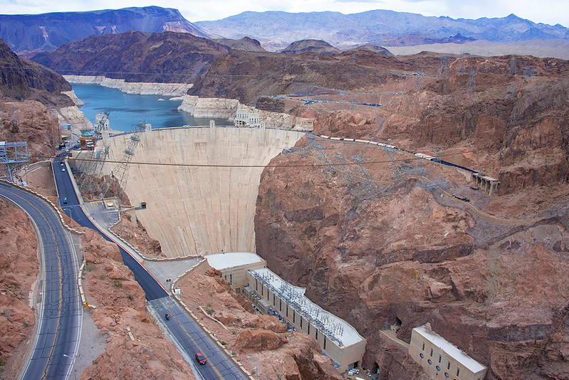 The Hoover Dam was constructed between 1931 and 1936 during the Great Depression and was dedicated on September 30, 1935, by President Franklin D. Roosevelt.