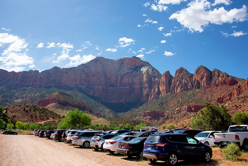 We parked here during our visit into Zion Park. Best background for a parking lot I have ever seen!!