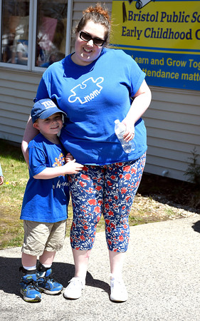 5/1/2018 MIke Orazzi | Staff Jessica Lee and her son Walker during the senior olympics at the Bristol Senior Center Tuesday.
