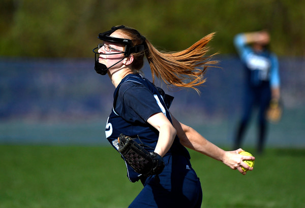 5/1/2018 Mike Orazzi | Staff Ansonia's Rebecca Paskiewicz (18) during softball with St. Paul in Bristol Tuesday.