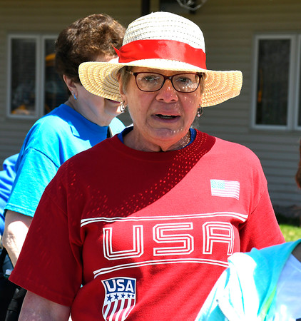 5/1/2018 MIke Orazzi | Staff Cathy Duck while walking during the senior olympics at the Bristol Senior Center Tuesday.