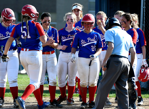 5/1/2018 Mike Orazzi | Staff St. Paul's Katelynn Oullette (51) after a home run Tuesday in Bristol. '
