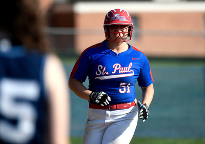 5/1/2018 Mike Orazzi | Staff St. Paul's Katelynn Oullette (51) after a home run Tuesday in Bristol.