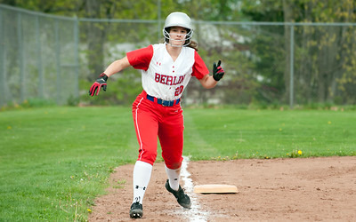 05/07/18  Wesley Bunnell | Staff  Berlin softball defeated Bristol Central 4-0 on Monday afternoon to secure its spot in the CIAC Tournament. Berlin's Julia Ladd (20) leads off third base.