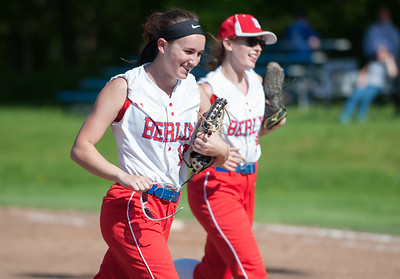 05/14/18  Wesley Bunnell | Staff  Berlin softball vs Platt Tech on Monday afternoon at Sage Park. Lindsay Walsh (12) runs off the field with teammate Julia Ladd (20).
