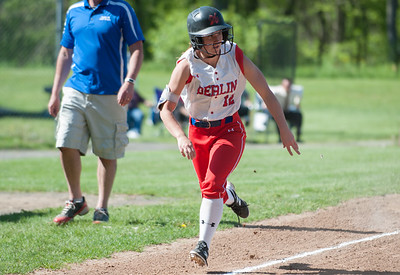 05/14/18  Wesley Bunnell | Staff  Berlin softball vs Platt Tech on Monday afternoon at Sage Park. Lindsay Walsh (12) comes home to score.
