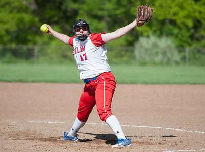 05/14/18  Wesley Bunnell | Staff  Berlin softball vs Platt Tech on Monday afternoon at Sage Park. Berlin starting pitcher Stefanie Poulin (17).