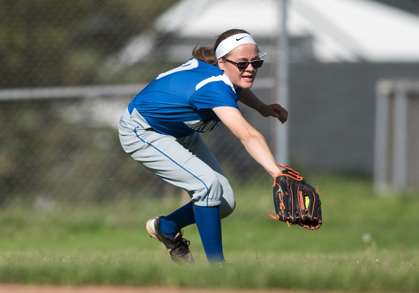 05/21/18 Wesley Bunnell | Staff Bristol Eastern softball defeated Bristol Central on Monday afternoon at Bristol Central High School. Lyzah Corliss (9) with a tough running catch in left center field.