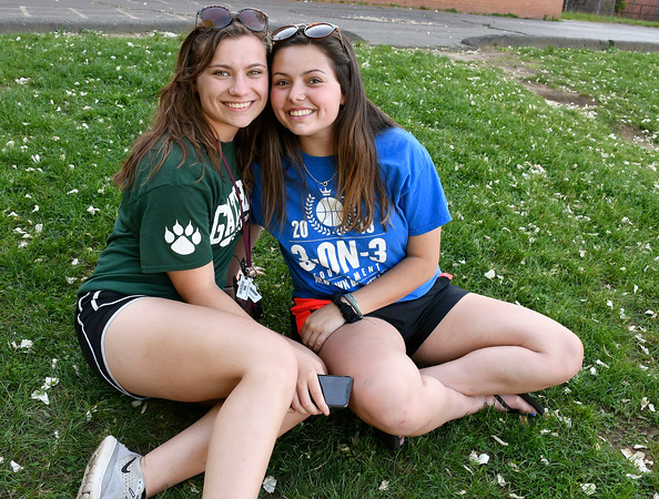 5/23/2018 Mike Orazzi | Staff Sara Tyminski and Brooke Dauphinee the 2nd Annual South Side School Warrior Walk Wednesday evening in honor of Connor Albert, a student who died of cancer in December.