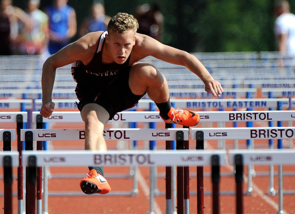 5/23/2018 Mike Orazzi | Staff Bristol Central High School's Elijah Ortiz during the CCC Track & Field Championships held at Bristol Eastern High School Wednesday.