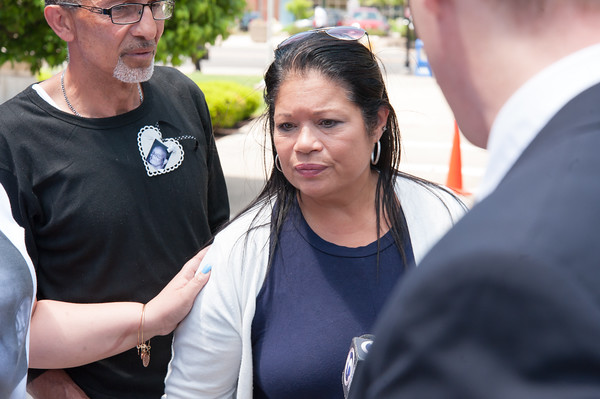 05/23/18 Wesley Bunnell | Staff The niece of Angel &quote;Kiki&quote; Colon Victoria Lays speaks to the media outside of New Britain Superior Court on Wednesday afternoon. Jonathan Rafael Soto , 22, of Convoy Drive was arraigned in court for the fatal hit-and-run death of Angel &quote;Kiki&quote; Colon who was struck by a car that fled last Saturday afternoon.