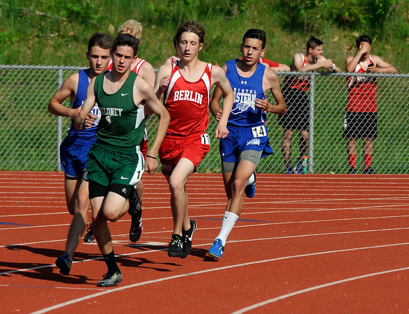 5/23/2018 Mike Orazzi | Staff The boys 1600 meter during the CCC Track & Field Championships held at Bristol Eastern High School Wednesday.