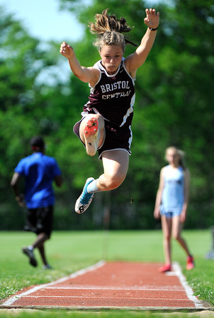5/23/2018 Mike Orazzi | Staff Bristol Central's Gabby Calfe during the CCC Track & Field Championships held at Bristol Eastern High School Wednesday.