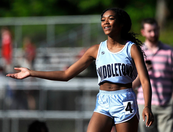5/23/2018 Mike Orazzi | Staff Middletown High School's Nasharie Davis during the CCC Track & Field Championships held at Bristol Eastern High School Wednesday.