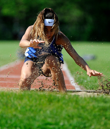 5/23/2018 Mike Orazzi | Staff Plainville High School's Samantha Lozefski during the CCC Track & Field Championships held at Bristol Eastern High School Wednesday.