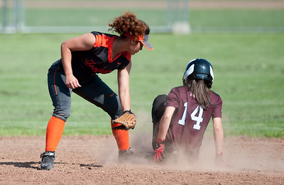 05/23/18  Wesley Bunnell | Staff  Goodwin Tech softball vs Canton on Senior Day on Wednesday afternoon. Paola Barbosa (13) applies the tag but is too late to get the runner.