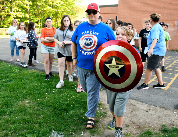 5/23/2018 Mike Orazzi | Staff Kelly and Ava Albert lead the 2nd Annual South Side School Warrior Walk Wednesday evening in honor of Connor Albert, a student who died of cancer in December.
