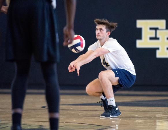 05/23/18 Wesley Bunnell | Staff Newington volleyball defeated East Hartford in a semi final CCC Tournament game at East Hartford on Wednesday evening. Collin Liedke (4).