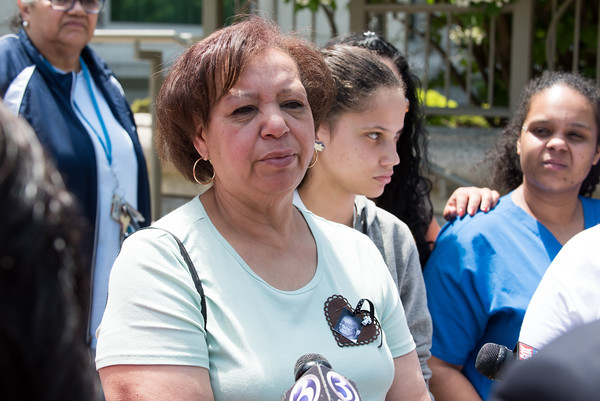 05/23/18 Wesley Bunnell | Staff The sister of Angel &quote;Kiki&quote; Colon, Alexandra Torres, speaks to the media outside of New Britain Superior Court on Wednesday afternoon. Jonathan Rafael Soto , 22, of Convoy Drive was arraigned in court for the fatal hit-and-run death of Angel &quote;Kiki&quote; Colon who was struck by a car that fled last Saturday afternoon.