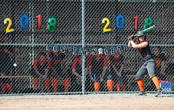 05/23/18 Wesley Bunnell | Staff Goodwin Tech softball vs Canton on Senior Day on Wednesday afternoon. Lead off hitter Paola Barbosa (13).