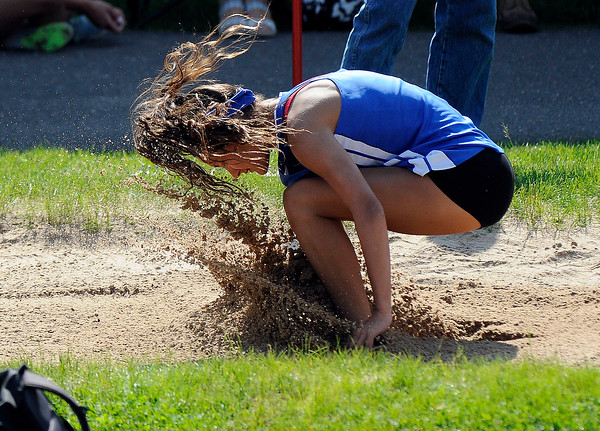 5/23/2018 Mike Orazzi | Staff Plainville's Tessa Susco during the CCC Track & Field Championships held at Bristol Eastern High School Wednesday.