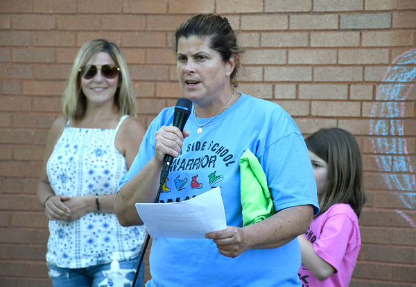 5/23/2018 Mike Orazzi | Staff Lisa Galske during the 2nd Annual South Side School Warrior Walk Wednesday evening in honor of Connor Albert, a student who died of cancer in December.