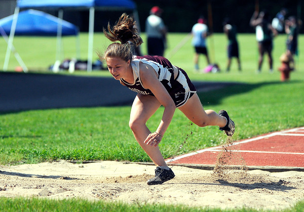 5/23/2018 Mike Orazzi | Staff Bristol Central's Abby Calfe during the CCC Track & Field Championships held at Bristol Eastern High School Wednesday.