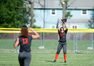 05/23/18  Wesley Bunnell | Staff  Goodwin Tech softball vs Canton on Senior Day on Wednesday afternoon. Paola Barbosa (13) heads back into left field as Yarlina Moya (2) settles under the ball for the catch.