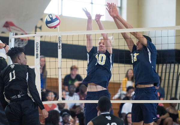 05/23/18 Wesley Bunnell | Staff Newington volleyball defeated East Hartford in a semi final CCC Tournament game at East Hartford on Wednesday evening. Riley Miller (10) and Mason Romano (17).