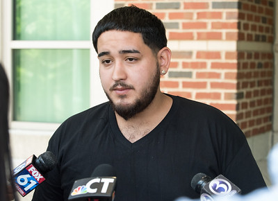"05/23/18  Wesley Bunnell | Staff  Angel Ortiz, the brother of Jonathan Rafael Soto, speaks outside of New Britain Superior Court to the media. Jonathan Rafael Soto , 22, of Convoy Drive was arraigned in New Britain Superior Court on Wednesday at noon for the fatal hit-and-run death of Angel ""Kiki"" Colon who was struck by a car that fled last Saturday afternoon."