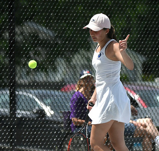 5/26/2018 Mike Orazzi | Staff Old Lyme High School's Brynn McGlinchey during the 2018 Class S Girls Tennis Tournament with St. Paul Catholic High School held at Bristol Eastern High School in Bristol Saturday.