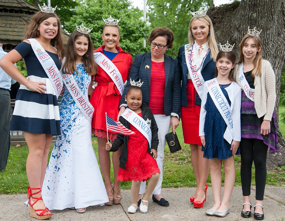 05/28/18 Wesley Bunnell | Staff Bristol held its second Memorial Day Parade on Monday morning starting near Race & North Main St and ending on Memorial Blvd with a ceremony. Miss Forrestville Outstanding Teen Gia Iwanec, Miss Teen Bristol Autumn Schless, Miss Forrestville Jillian Duffy, Mayor Ellen Zoppo-Sassu with her arm around Miss CT Princess Jayla Davis, Miss Bristol Victoria Lemme, Miss Connecticut Princess Kayla Bekech and Miss CT Princess Carson Gagne.