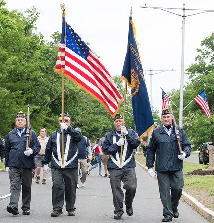 05/28/18 Wesley Bunnell | Staff Bristol held its second Memorial Day Parade on Monday morning starting near Race & North Main St and ending on Memorial Blvd with a ceremony. The Bristol American Legion Honor Guard marches down Memorial Blvd.