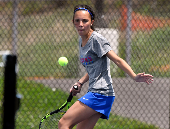 5/26/2018 Mike Orazzi | Staff St. Paul Catholic High Schools Olivia Kilbourne during the 2018 Class S Girls Tennis Tournament with Old Lyme held at Bristol Eastern High School in Bristol Saturday.