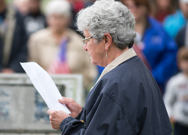05/28/18 Wesley Bunnell | Staff Bristol held its second Memorial Day Parade on Monday morning starting near Race & North Main St and ending on Memorial Blvd with a ceremony. Alice Tessier reads the names of Bristol residents killed in World War I.