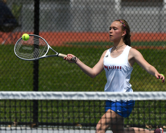 5/26/2018 Mike Orazzi | Staff St. Paul Catholic High School's Carina Fiscella during the 2018 Class S Girls Tennis Tournament with Old Lyme held at Bristol Eastern High School in Bristol Saturday.