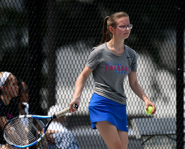 5/26/2018 Mike Orazzi | Staff St. Paul Catholic High School's Katie Pauloz during the 2018 Class S Girls Tennis Tournament with Old Lyme held at Bristol Eastern High School in Bristol Saturday.