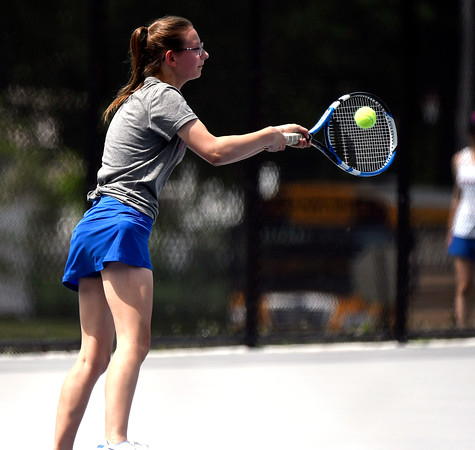 5/26/2018 Mike Orazzi | Staff St. Paul Catholic High Schools Katie Pauloz during the 2018 Class S Girls Tennis Tournament with Old Lyme held at Bristol Eastern High School in Bristol Saturday.
