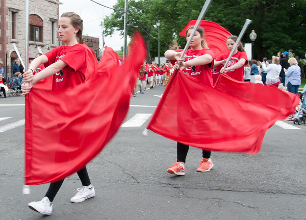 05/28/18 Wesley Bunnell | Staff A packed parade route greeted marchers in the 2018 Memorial Day Parade in Southington on Monday morning. Members of the John F. Kennedy Marching Band.