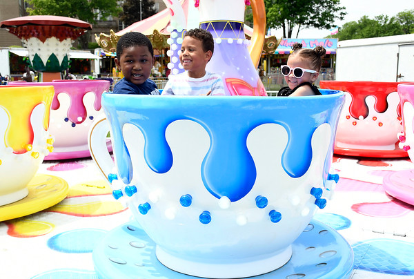 5/26/2018 Mike Orazzi | Staff Trent Trotman, Jaylen Hernandez and Madison McKenzie while at the United Way carnival held on Memorial Blvd. in Bristol Saturday.