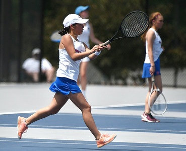 5/26/2018 Mike Orazzi | Staff St. Paul Catholic High School's Ximena Varela­Marin during the 2018 Class S Girls Tennis Tournament with Old Lyme held at Bristol Eastern High School in Bristol Saturday.
