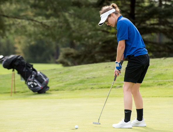 05/10/18 Wesley Bunnell | Staff New Britain golf defeated Bristol Eastern 212-219 at Stanley Golf Course on Thursday afternoon. Bristol Eastern's Olivia Beaudoin.