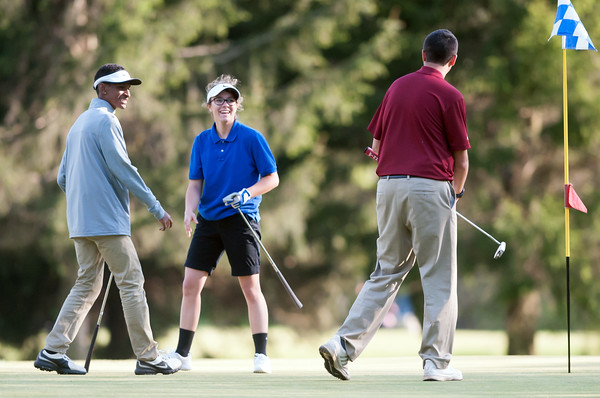 05/10/18 Wesley Bunnell | Staff New Britain golf defeated Bristol Eastern 212-219 at Stanley Golf Course on Thursday afternoon. New Britain's Dylan Washington, L, after shaking hands with Bristol Eastern's Olivia Beaudoin at the conclusion of the match.
