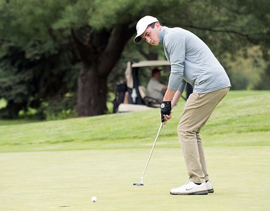 05/10/18  Wesley Bunnell | Staff  New Britain golf defeated Bristol Eastern 212-219 at Stanley Golf Course on Thursday afternoon.  New Britain's Tim Carrier watches his putt.