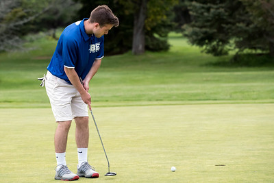 05/10/18  Wesley Bunnell | Staff  New Britain golf defeated Bristol Eastern 212-219 at Stanley Golf Course on Thursday afternoon.  Bristol Eastern's Brendan McMahon watches his putt head towards the hole.