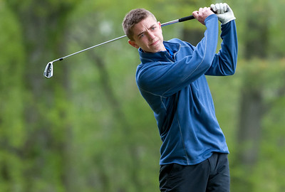 05/10/18  Wesley Bunnell | Staff  New Britain golf defeated Bristol Eastern 212-219 at Stanley Golf Course on Thursday afternoon. Bristol Eastern's Drew Fries hits an iron off the tee.