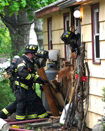 5/10/2018 Mike Orazzi | Staff Bristol firefighters on scene of house fire on Pleasant View Avenue in the city Thursday afternoon.