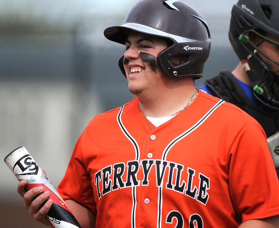 5/11/2018 Mike Orazzi | Staff Terryville's Justin Carasone (20) Friday at THS.
