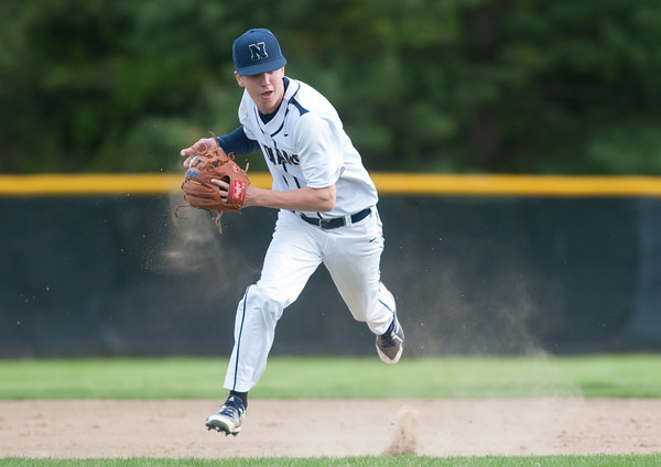 05/11/18 Wesley Bunnell | Staff Newington baseball vs Hall on Friday afternoon at Newington High School. Mike Soboloewski (6) fields and throws to first for the out.