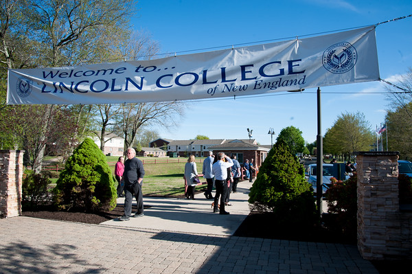 05/11/18 Wesley Bunnell | Staff Lincoln College of New England held their Fifty-first Annual Commencement Ceremony on Friday evening on the college campus. A banner greets visitors as they walk from the parking lot.